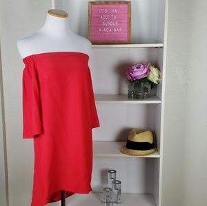 Amamda Uprichard Red Off the Shoulder Silk Dress